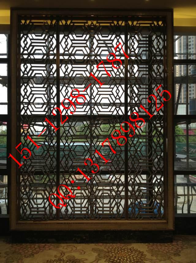 ktv酒店大堂专用装饰不锈钢黑钛金拉丝花格隔断屏风